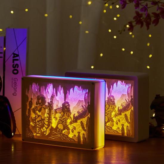 dofus OUGINAK warrior 3D PAPER CUT LIGHTBOX